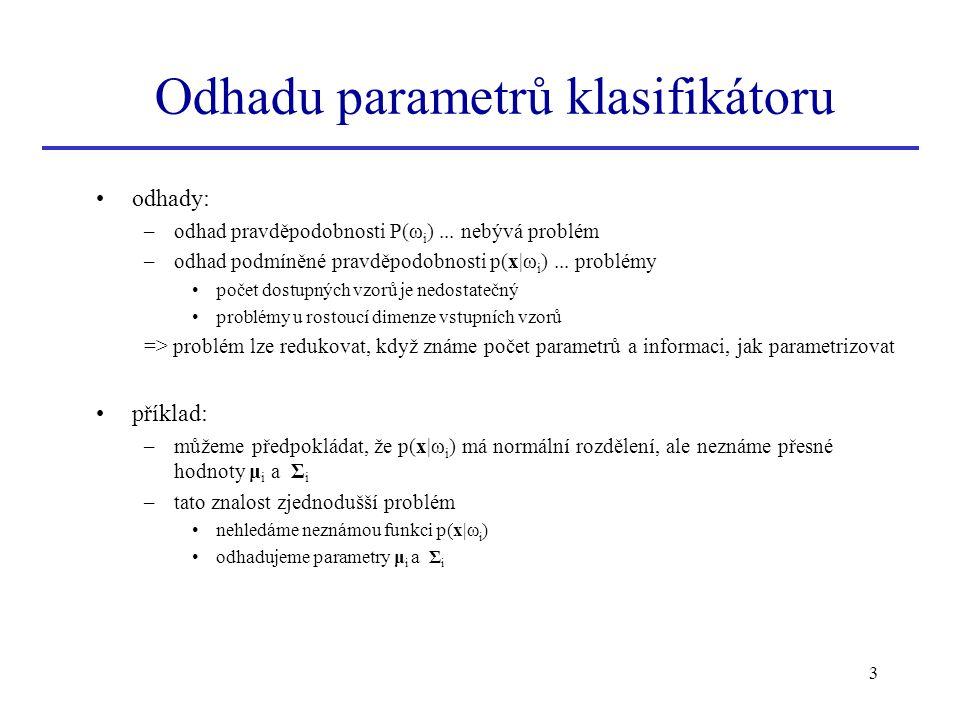 Odhadu parametrů klasifikátoru