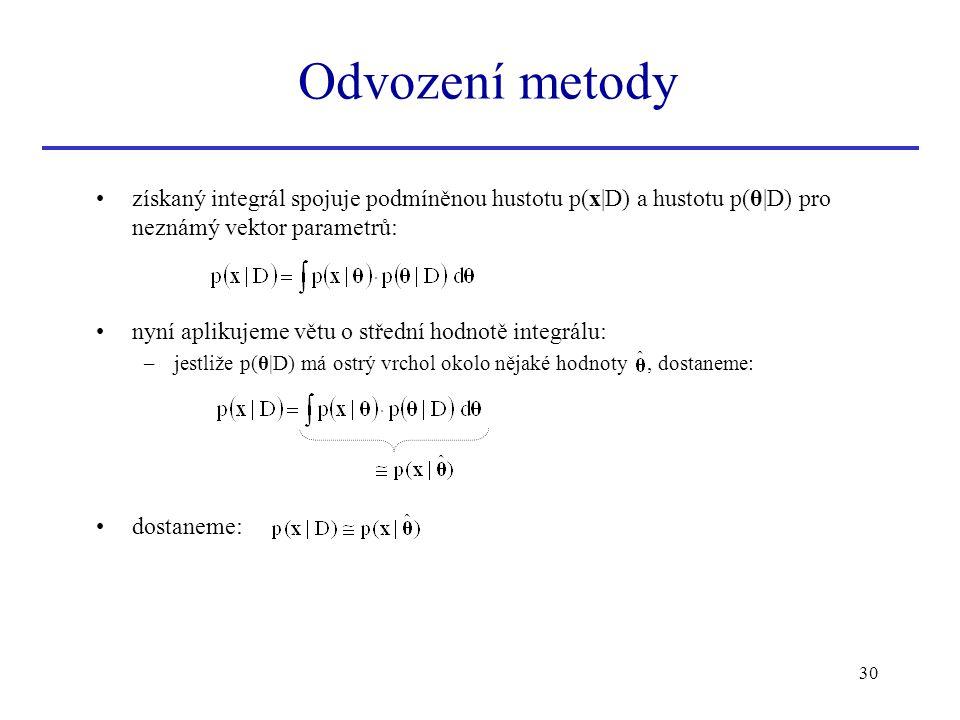 Odvození metody získaný integrál spojuje podmíněnou hustotu p(x|D) a hustotu p(θ|D) pro neznámý vektor parametrů: