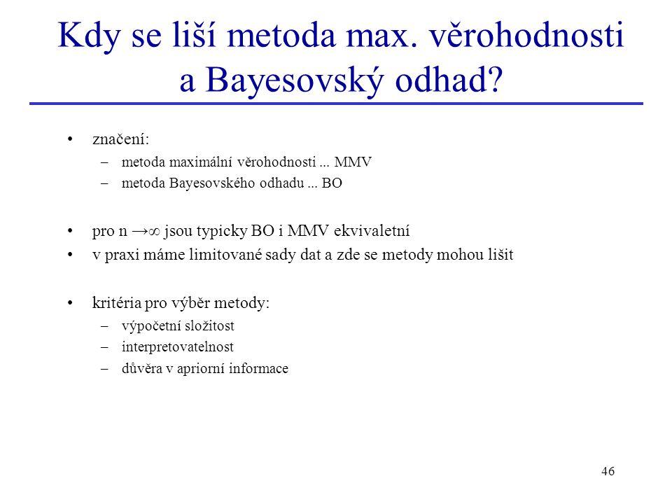 Kdy se liší metoda max. věrohodnosti a Bayesovský odhad
