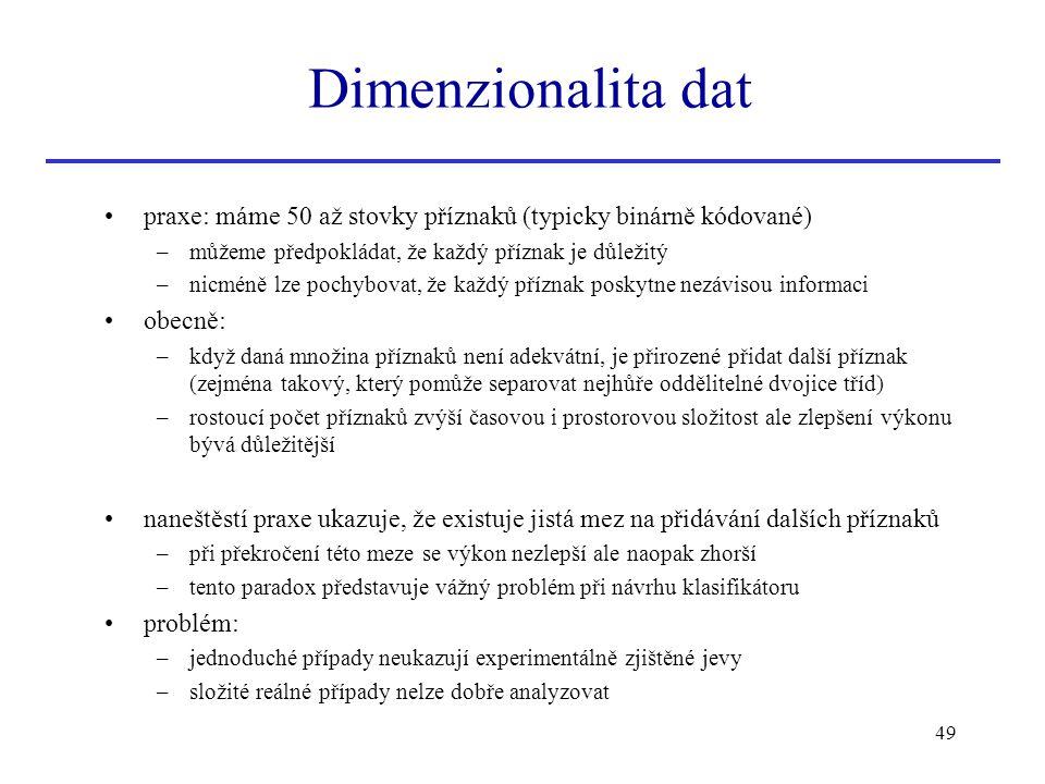 Dimenzionalita dat praxe: máme 50 až stovky příznaků (typicky binárně kódované) můžeme předpokládat, že každý příznak je důležitý.