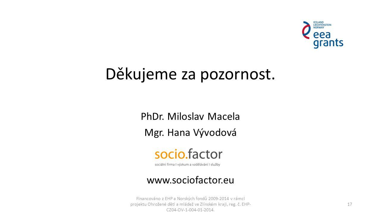 Děkujeme za pozornost. PhDr. Miloslav Macela Mgr. Hana Vývodová