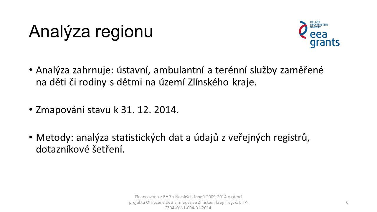 Analýza regionu Analýza zahrnuje: ústavní, ambulantní a terénní služby zaměřené na děti či rodiny s dětmi na území Zlínského kraje.