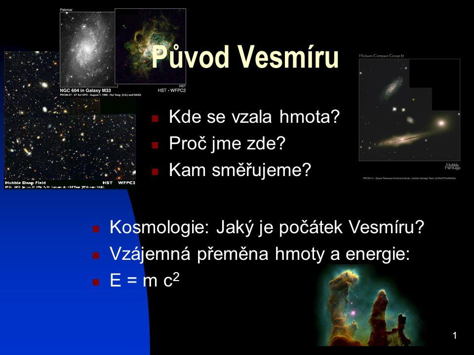 Původ Vesmíru Kde se vzala hmota Proč jme zde Kam směřujeme