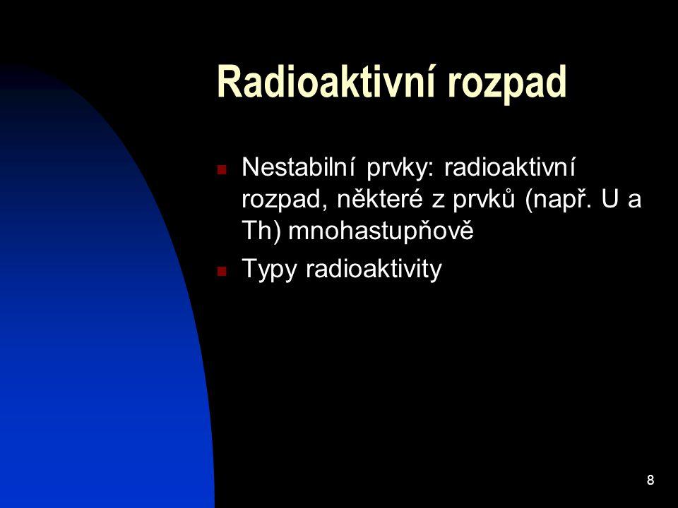 Radioaktivní rozpad Nestabilní prvky: radioaktivní rozpad, některé z prvků (např. U a Th) mnohastupňově.