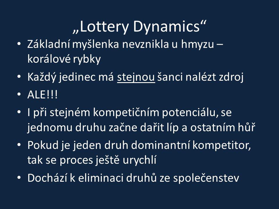 """""""Lottery Dynamics Základní myšlenka nevznikla u hmyzu – korálové rybky. Každý jedinec má stejnou šanci nalézt zdroj."""