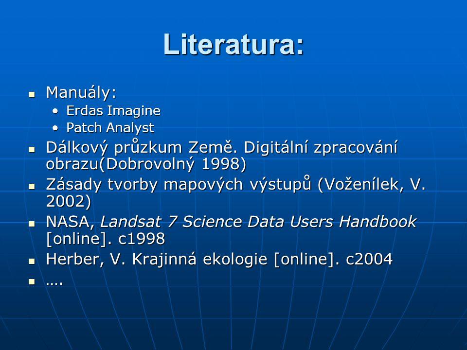 Literatura: Manuály: Erdas Imagine. Patch Analyst. Dálkový průzkum Země. Digitální zpracování obrazu(Dobrovolný 1998)