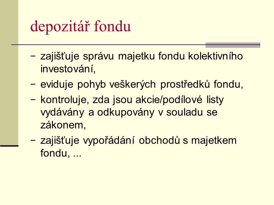 depozitář fondu zajišťuje správu majetku fondu kolektivního investování, eviduje pohyb veškerých prostředků fondu,