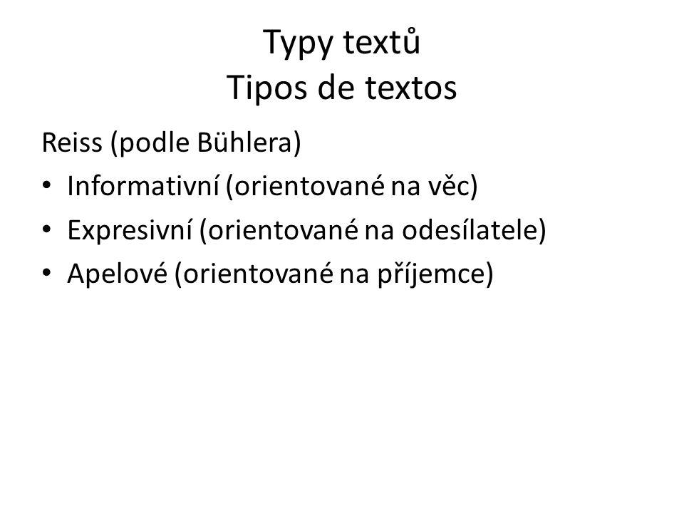 Typy textů Tipos de textos