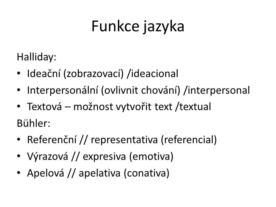 Funkce jazyka Halliday: Ideační (zobrazovací) /ideacional