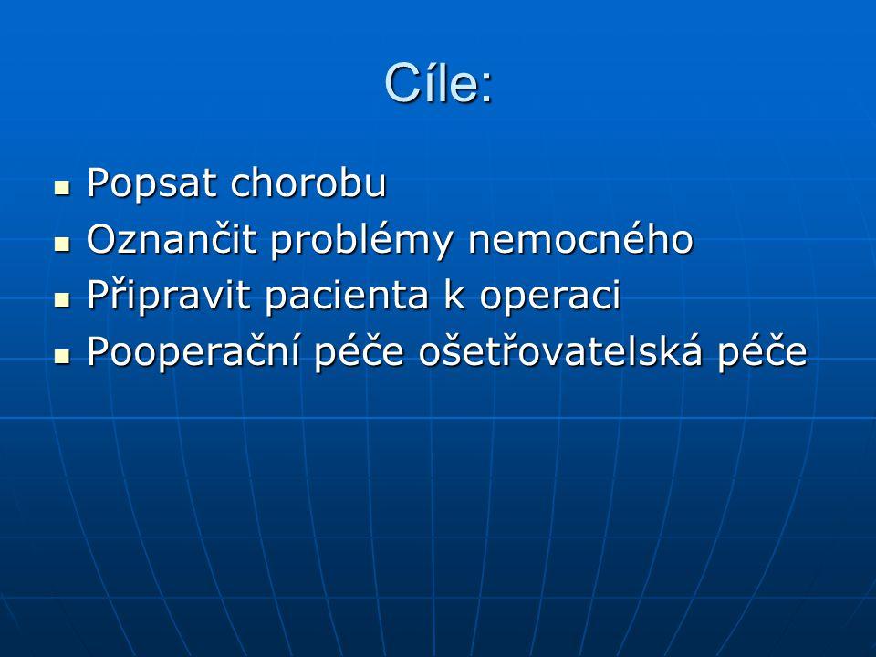 Cíle: Popsat chorobu Oznančit problémy nemocného
