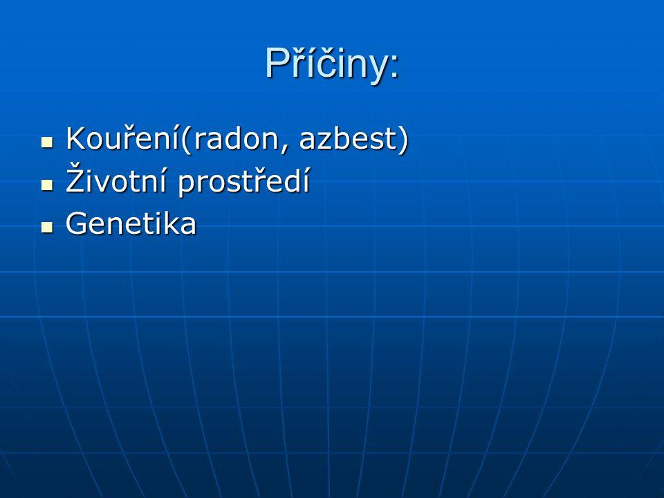 Příčiny: Kouření(radon, azbest) Životní prostředí Genetika