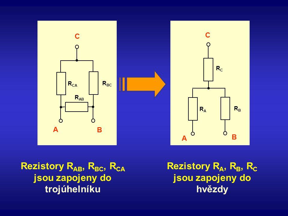 Rezistory RAB, RBC, RCA jsou zapojeny do trojúhelníku