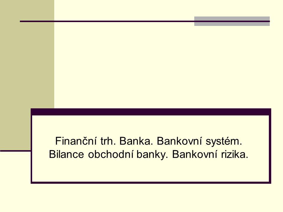 Finanční trh. Banka. Bankovní systém. Bilance obchodní banky