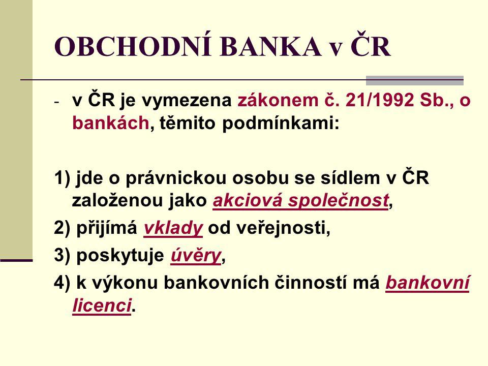 OBCHODNÍ BANKA v ČR v ČR je vymezena zákonem č. 21/1992 Sb., o bankách, těmito podmínkami: