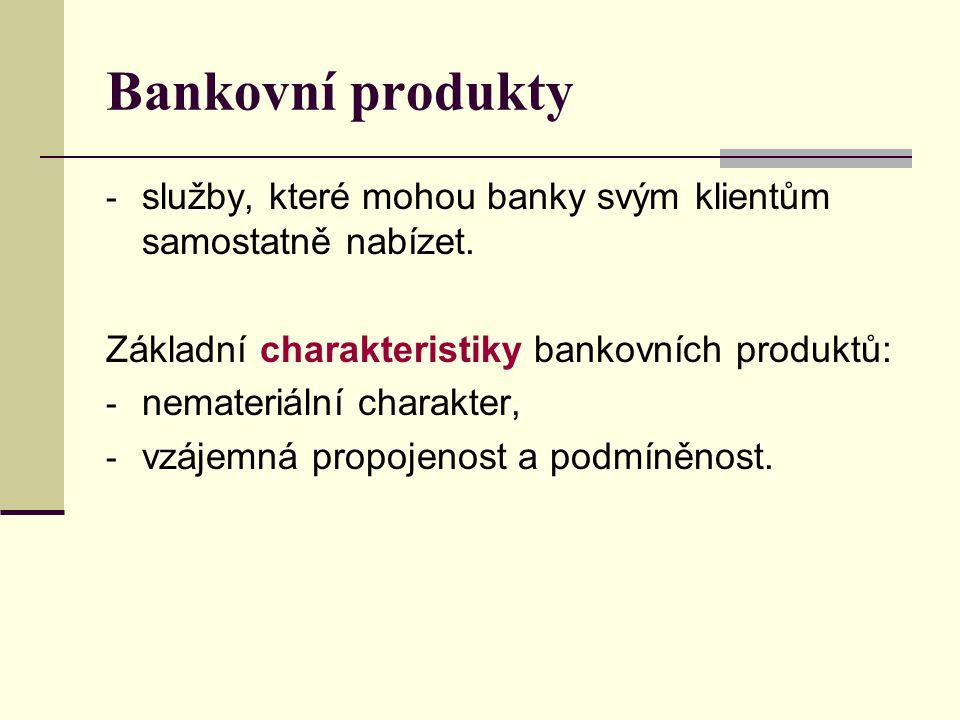 Bankovní produkty služby, které mohou banky svým klientům samostatně nabízet. Základní charakteristiky bankovních produktů: