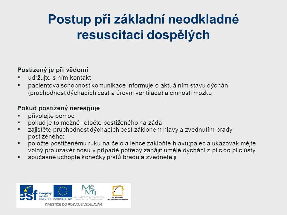 Postup při základní neodkladné resuscitaci dospělých