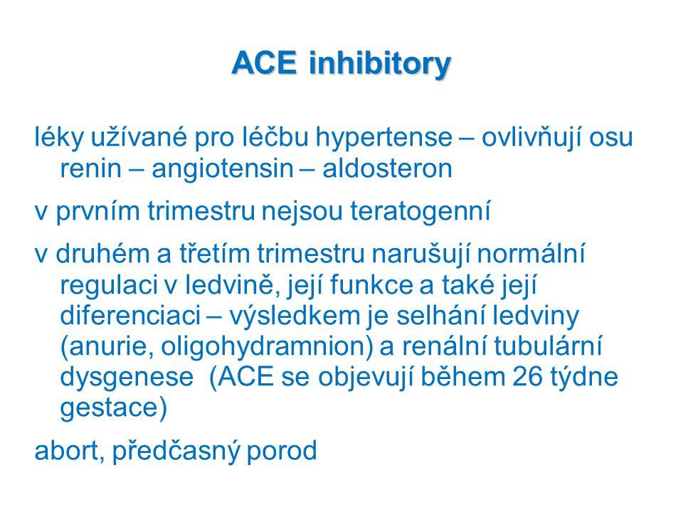 ACE inhibitory léky užívané pro léčbu hypertense – ovlivňují osu renin – angiotensin – aldosteron.