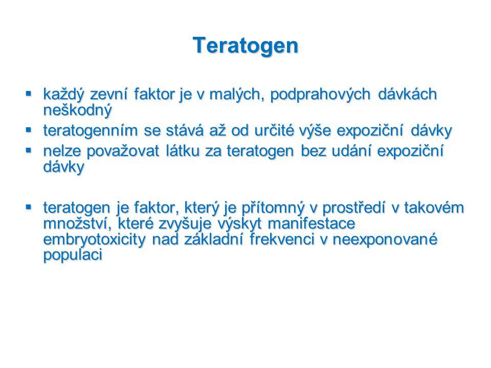 Teratogen každý zevní faktor je v malých, podprahových dávkách neškodný. teratogenním se stává až od určité výše expoziční dávky.
