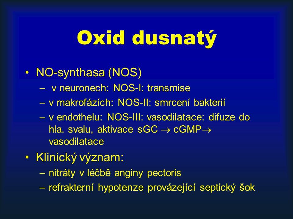 Oxid dusnatý NO-synthasa (NOS) Klinický význam: