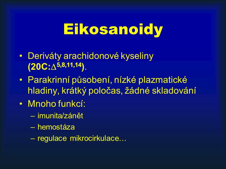 Eikosanoidy Deriváty arachidonové kyseliny (20C:5,8,11,14).