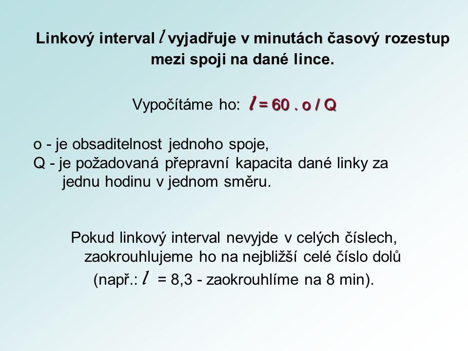 Linkový interval l vyjadřuje v minutách časový rozestup mezi spoji na dané lince.