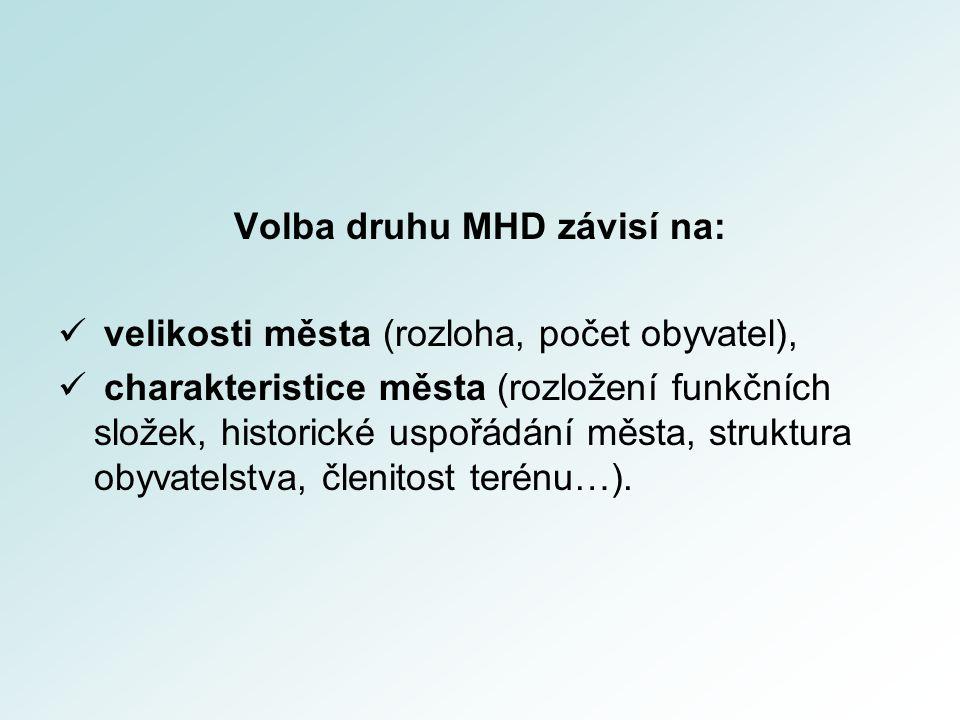 Volba druhu MHD závisí na: