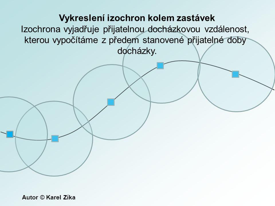 Vykreslení izochron kolem zastávek