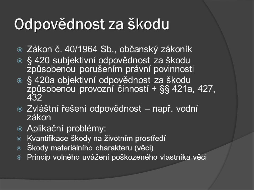 Odpovědnost za škodu Zákon č. 40/1964 Sb., občanský zákoník