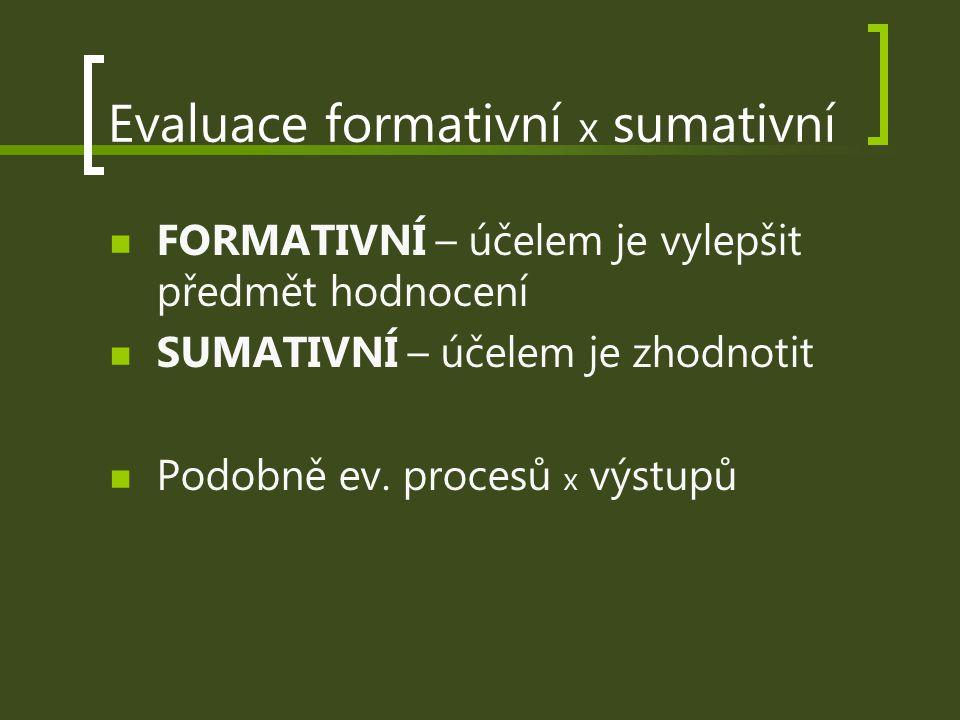 Evaluace formativní x sumativní