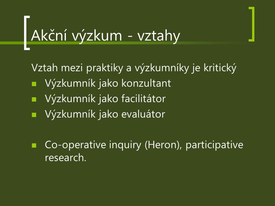 Akční výzkum - vztahy Vztah mezi praktiky a výzkumníky je kritický