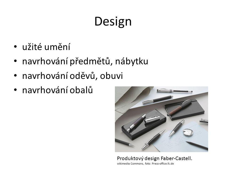 Design užité umění navrhování předmětů, nábytku