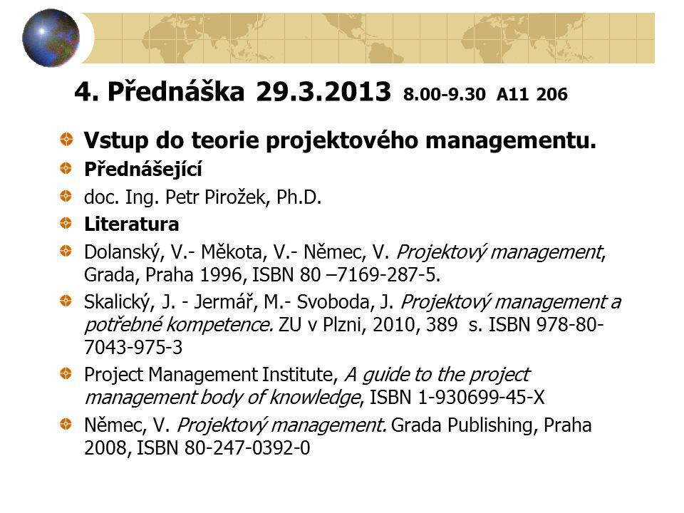 4. Přednáška 29.3.2013 8.00-9.30 A11 206 Vstup do teorie projektového managementu. Přednášející.