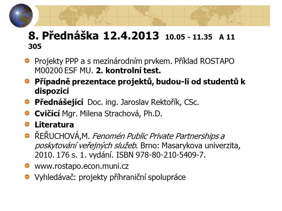 8. Přednáška 12.4.2013 10.05 - 11.35 A 11 305 Projekty PPP a s mezinárodním prvkem. Příklad ROSTAPO M00200 ESF MU. 2. kontrolní test.