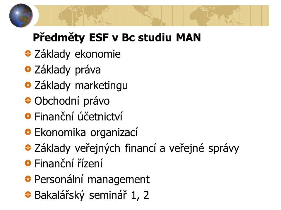 Předměty ESF v Bc studiu MAN