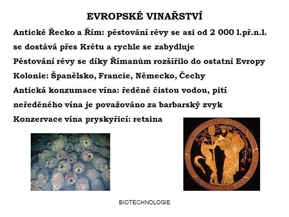EVROPSKÉ VINAŘSTVÍ Antické Řecko a Řím: pěstování révy se asi od 2 000 l.př.n.l. se dostává přes Krétu a rychle se zabydluje.