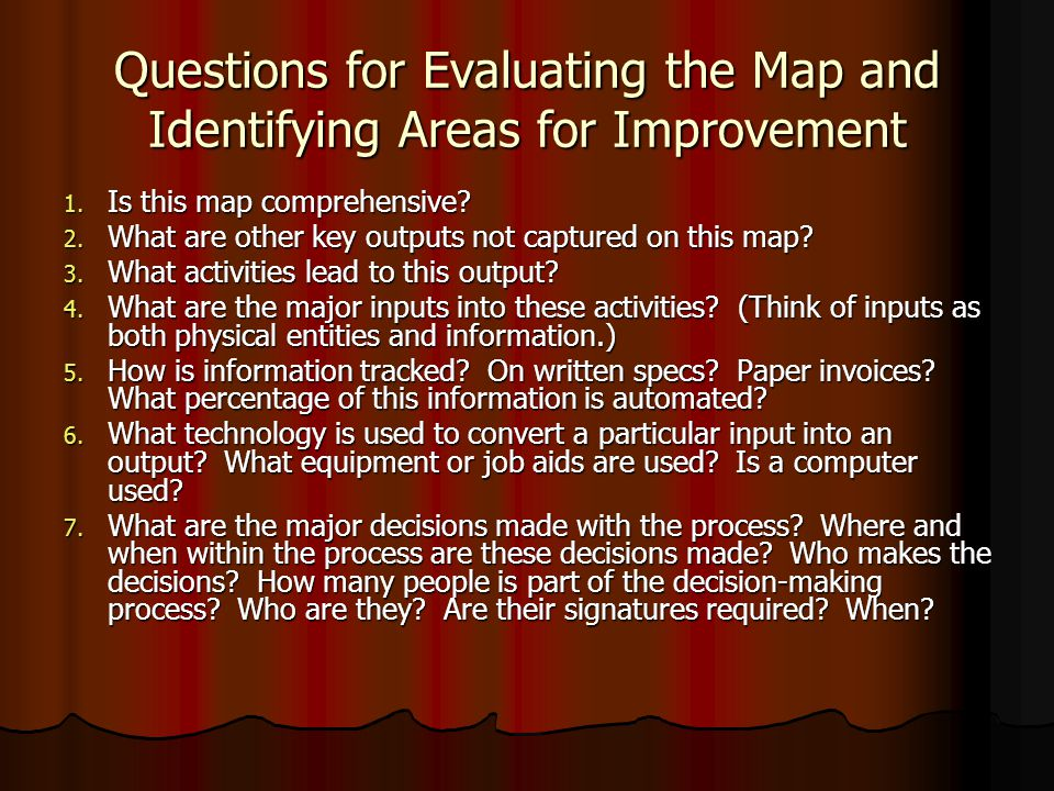Questions for Evaluating the Map and Identifying Areas for Improvement