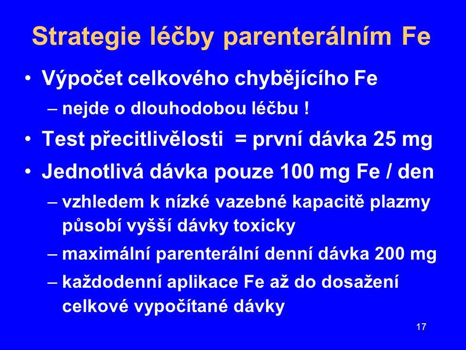 Strategie léčby parenterálním Fe