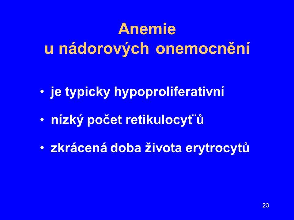 Anemie u nádorových onemocnění