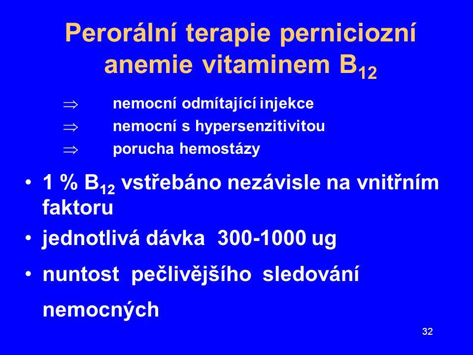 Perorální terapie perniciozní anemie vitaminem B12