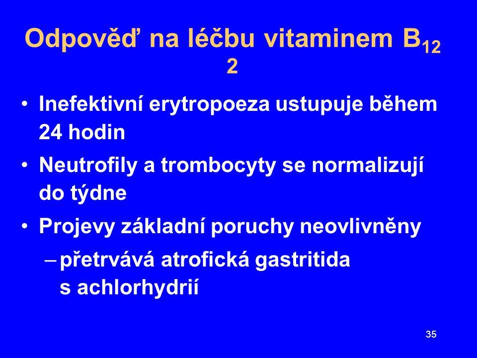 Odpověď na léčbu vitaminem B12 2