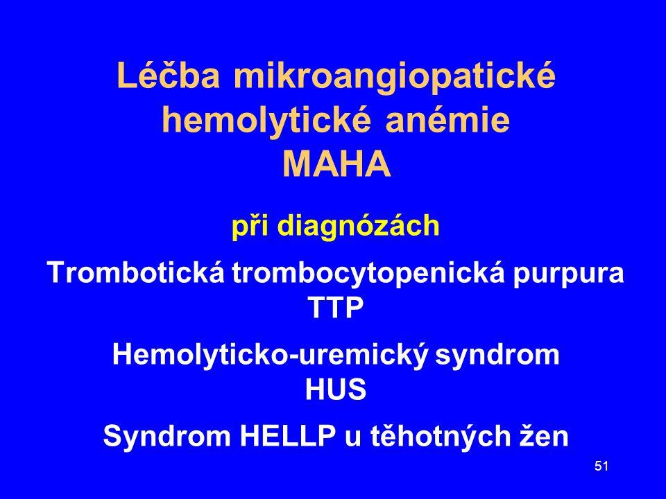 Léčba mikroangiopatické hemolytické anémie MAHA při diagnózách Trombotická trombocytopenická purpura TTP Hemolyticko-uremický syndrom HUS Syndrom HELLP u těhotných žen