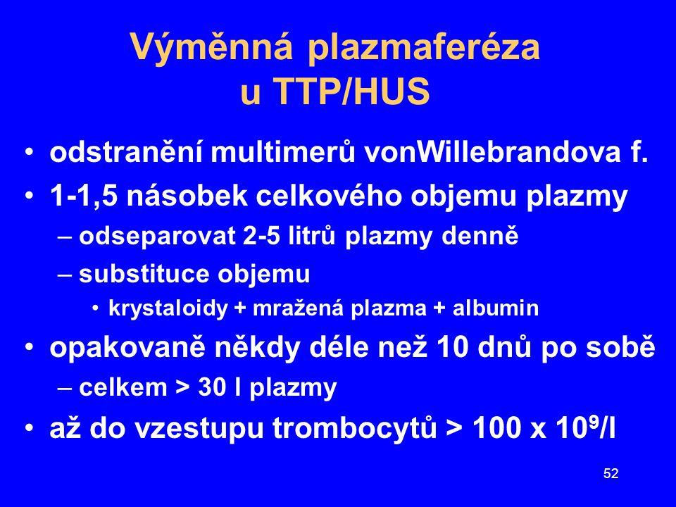 Výměnná plazmaferéza u TTP/HUS