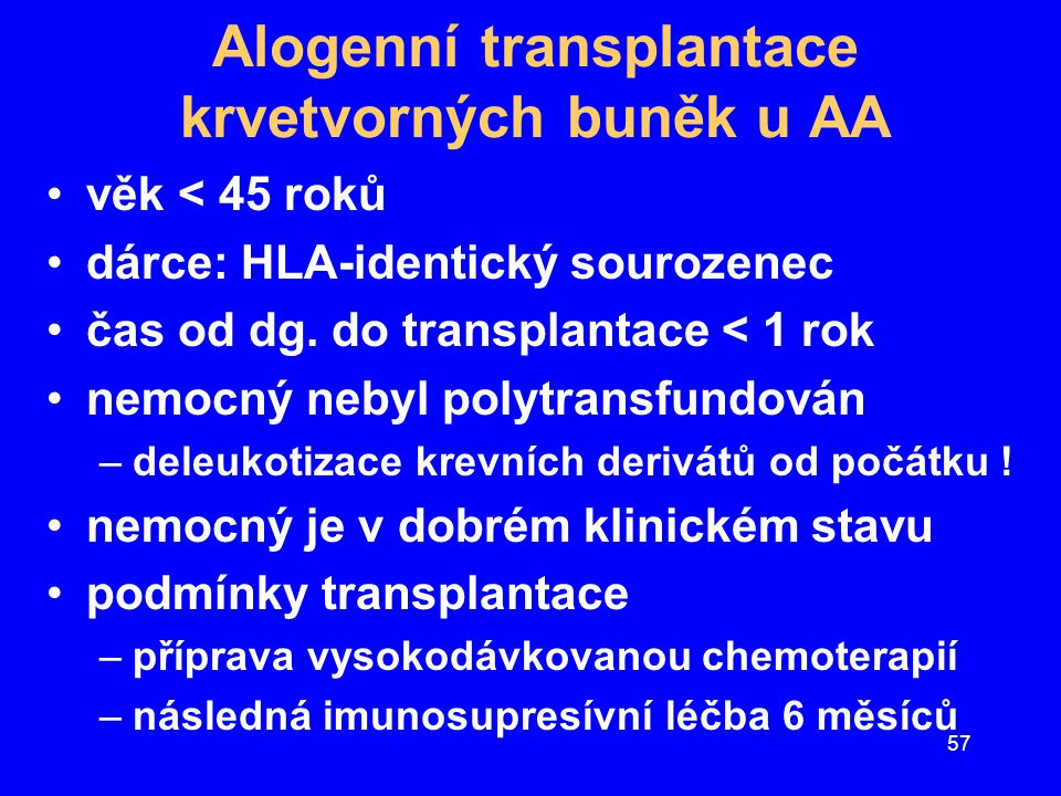 Alogenní transplantace krvetvorných buněk u AA