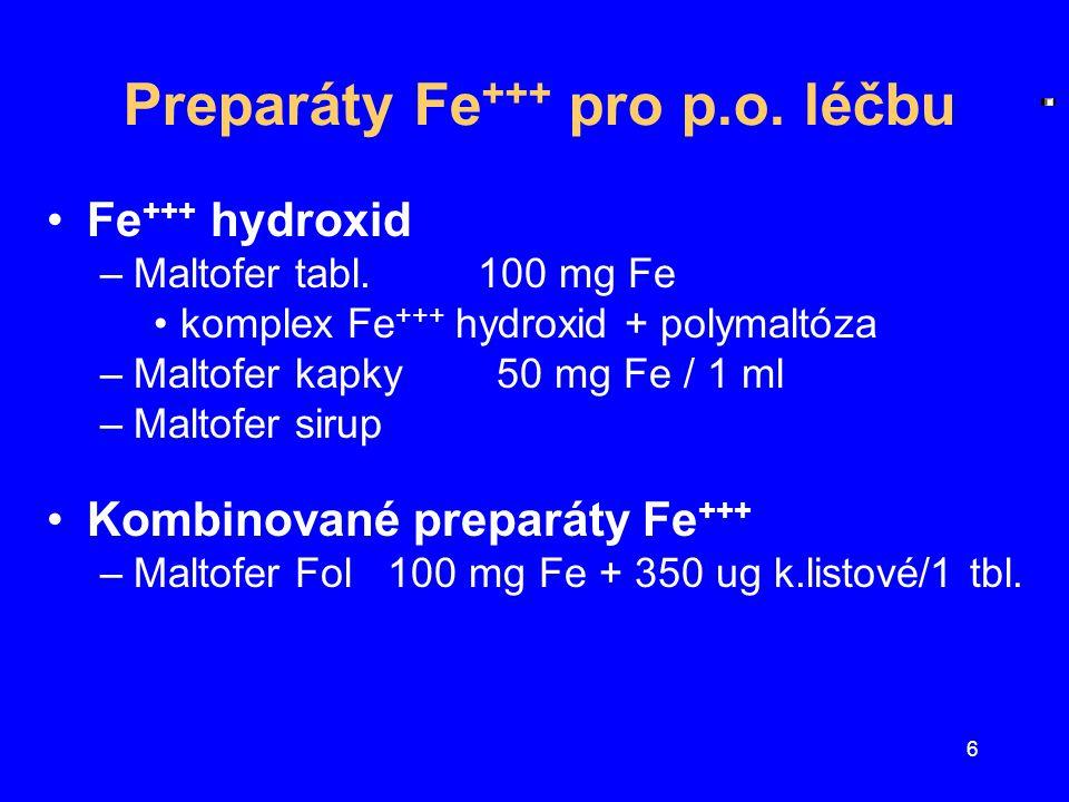 Preparáty Fe+++ pro p.o. léčbu