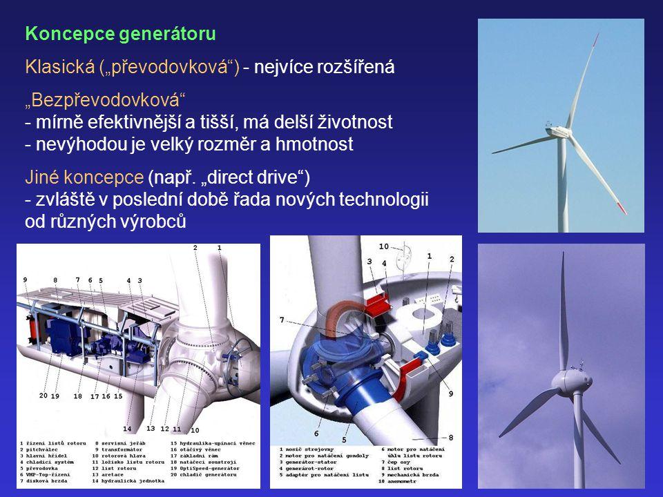 """Koncepce generátoru Klasická (""""převodovková ) - nejvíce rozšířená. """"Bezpřevodovková - mírně efektivnější a tišší, má delší životnost."""