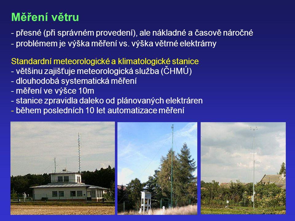 Měření větru přesné (při správném provedení), ale nákladné a časově náročné. problémem je výška měření vs. výška větrné elektrárny.