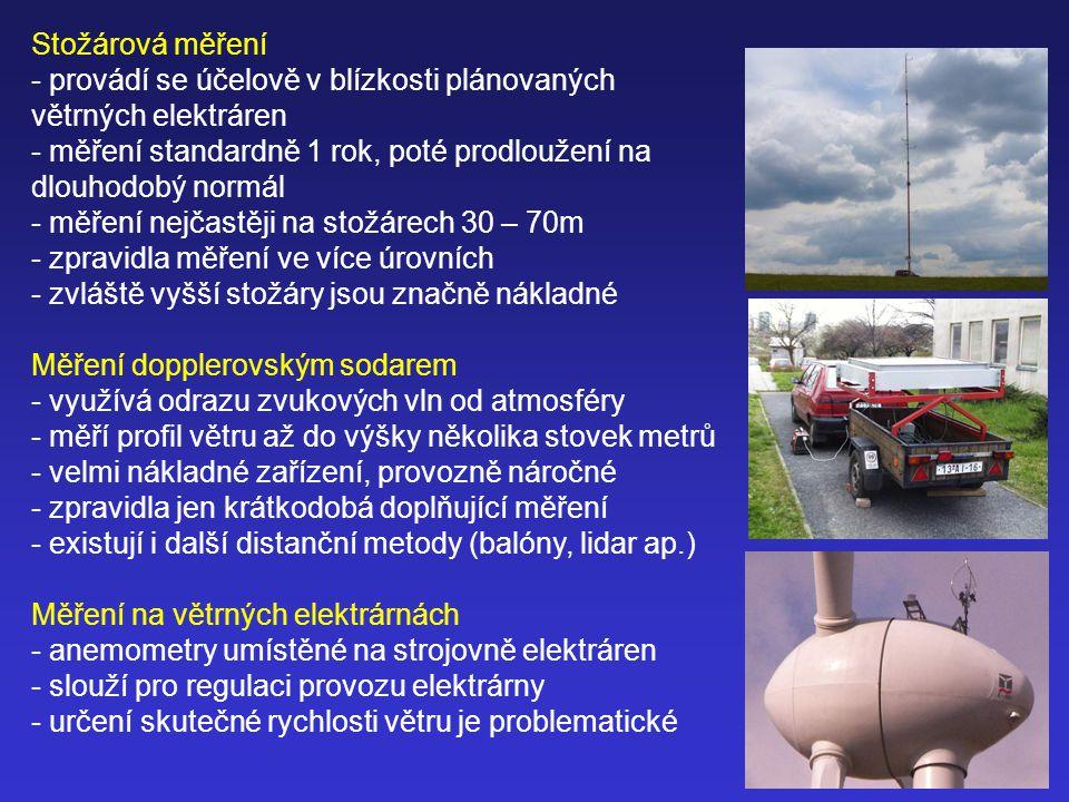 Stožárová měření provádí se účelově v blízkosti plánovaných větrných elektráren. měření standardně 1 rok, poté prodloužení na dlouhodobý normál.