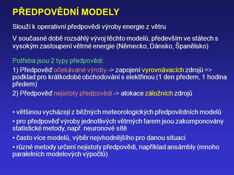 PŘEDPOVĚDNÍ MODELY Slouží k operativní předpovědi výroby energie z větru.