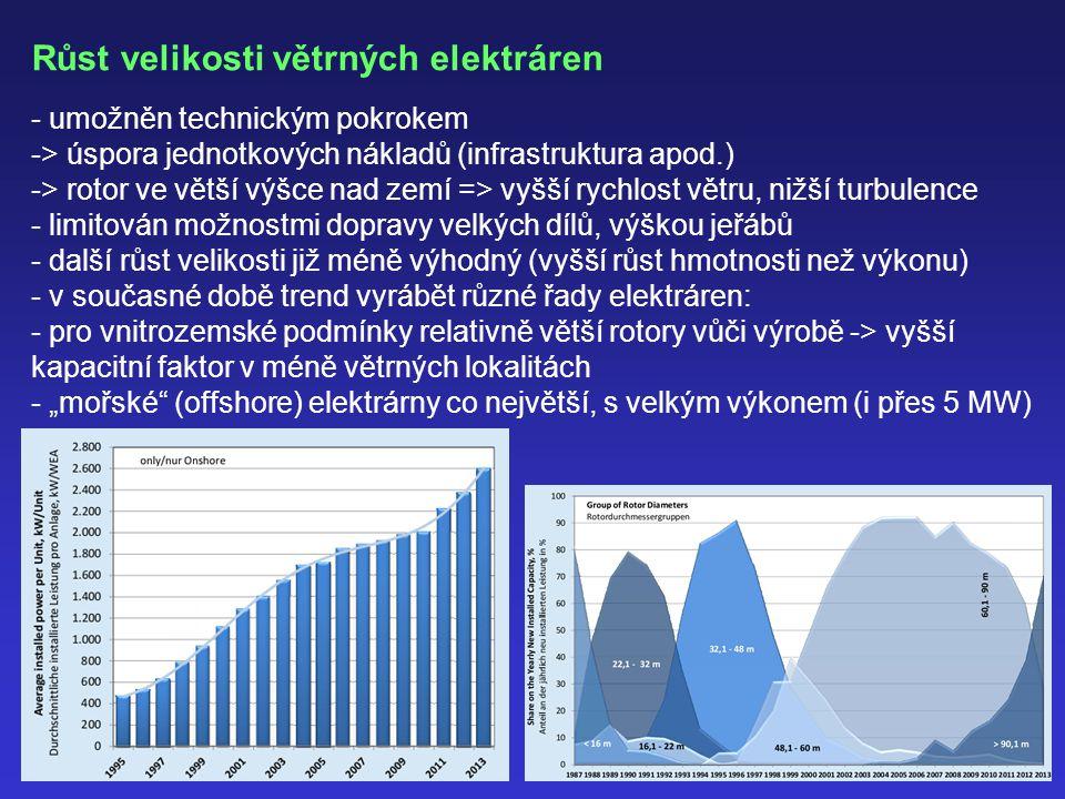 Růst velikosti větrných elektráren