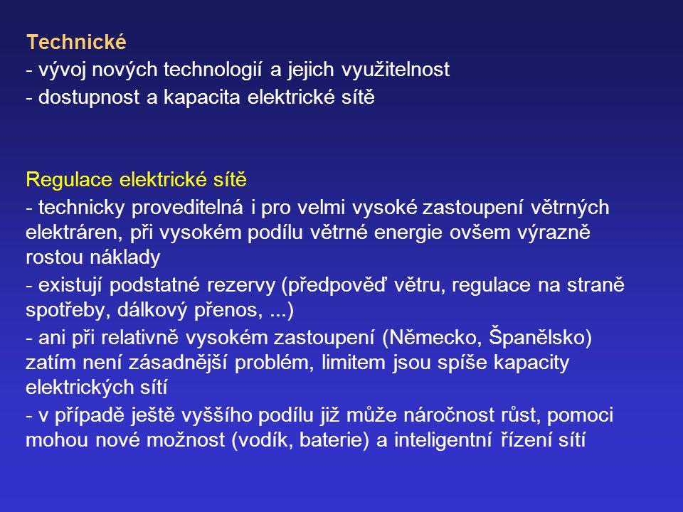 Technické vývoj nových technologií a jejich využitelnost. - dostupnost a kapacita elektrické sítě.